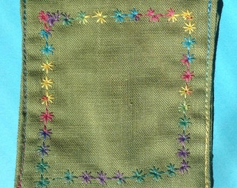 Coin pocket, green, embroidered