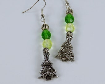 Earring trees with green beads on Silver earrings hanging earrings Christmas tree Christmas Christmas trees
