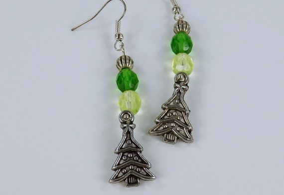 Earrings Christmas tree Christmas trees with green pearls on silver earrings pendant Earrings