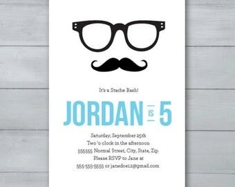 Mustache Hipster Birthday Party Invitation     Mustache Birthday Invite     Hipster Invitation     Hipster Birthday Invite