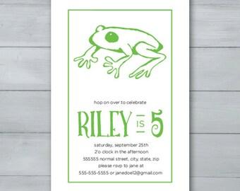 Frog Birthday Party Invitation  |  Frog Invite  |  Hop on Over Invitation