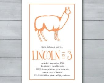 Llama Birthday Party Invitation  |  Llama Invite  |  Llama Birthday Invite