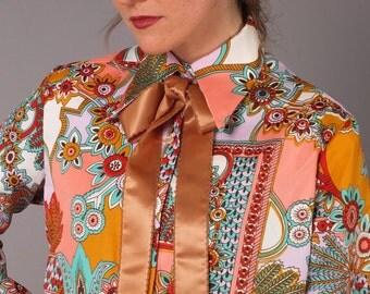 Vintage 60s 70s Vibrant Rich Tones Silky Acetate Wild Pucchiesque Pattern Shirt M/L