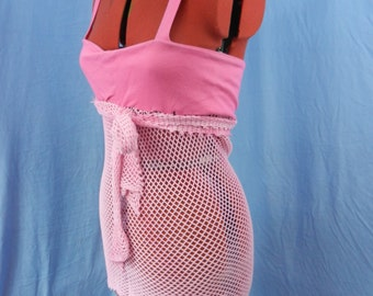 Twisted punky fishnet top