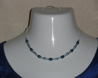 """Blue and silver beaded necklace and earing set/ 'Ball and Chain'; """"Juniper"""""""