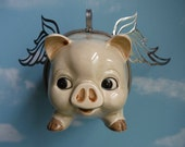 Adorable Vintage Piggy Bank Up Cycled into a Flying Pig
