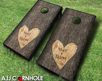 Custom Wedding Tree Carved Cornhole Set with Bags - Wedding Cornhole Set - Wedding Gift - Cornhole Wedding