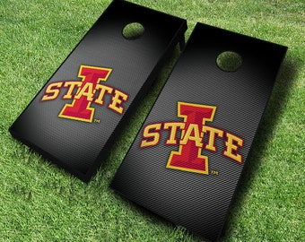 Officially Licensed Iowa State Cylones Slanted Cornhole Set with Bags - Bean Bag Toss - Iowa State Cornhole - Corn Toss - Corn hole