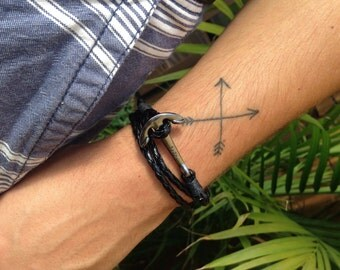 Bracelet leather for men and women - anchor boat