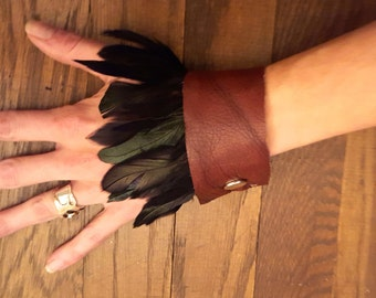 Black Petrol Feather Leather Cuff