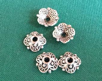 Silver Bead Caps -30pcs Antique Silver Flower End Cap Charms 8mm Tibetan WAA101-1