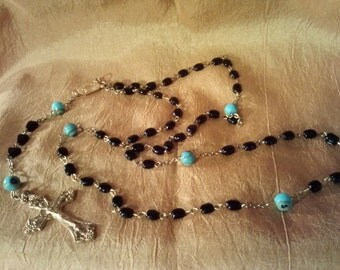 Catholic Rosary with glass beads and goldtone metal