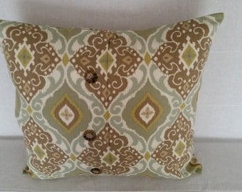 """Decorative Pillow Covers, 18"""" x 17"""" Taupe and Green Button Accent Pillow Covers"""