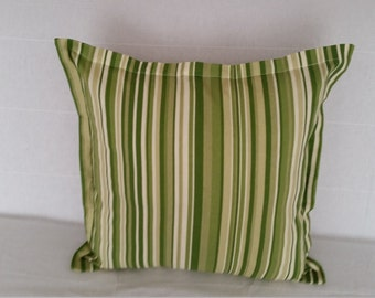 "Decorative Pillow Covers, Forest Green Stripe 21"" x 21"" Flange Pillow Cover"