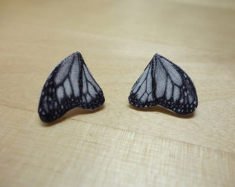 Black and White Butterfly Wing Earrings