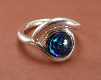 Paua Shell and Sterling Silver 'Eye' Ring