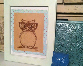 Nerdy Owl mixed media Original Art in frame