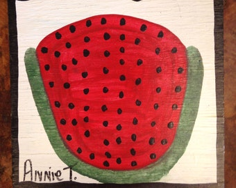 Annie T Annie Tolliver Signed Folk Art Painting Red Watermelon Paint on Wood Board