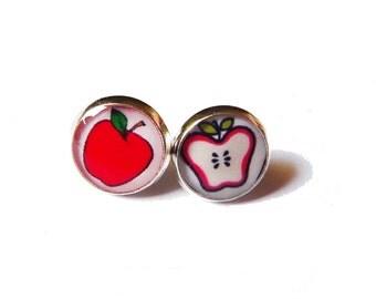 Post earrings - Red apples
