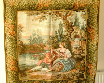 Wall Hanging Tapestry  Romantic Lake Scene  94cm x 89cm  Very Good Condition