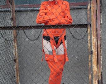 Orange Legs Restraints - Straitjacket type Prisoner laced leg restraints