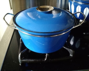 Mid Century Danish Modern - Cathrineholm of Norway - Cobalt Blue - Dutch Oven,  Pot with Lid & Handles