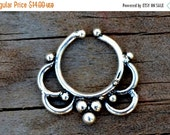 ON SALE Silver Septum Ring, Tribal Septum Ring, Fake Septum Ring, Indian Septum Ring, Silver Nose Ring, Fake Septum Piercing, Tribal Nose Ri