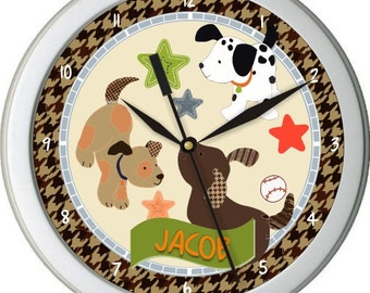Bow Wow Buddies Personalized Nursery Wall Clock