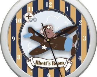 "Little Aviator Personalized 10"" Nursery / Children Wall Clock"