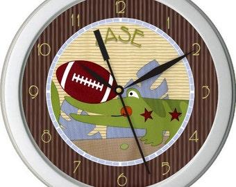 "Safari Football Personalized 10"" Nursery / Children Wall Clock"