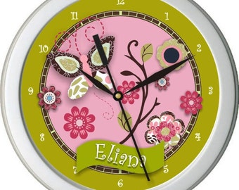 "Taffy Butterflies Personalized 10"" Nursery / Children Wall Clock"