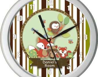 "Tree Top Friends Personalized 10"" Nursery Wall Clock"