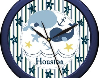 "Nautical Whale Personalized 10"" Nursery Wall Clock"