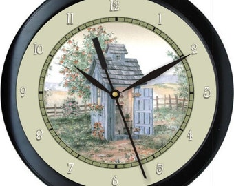 "Country Out House 10"" Personalized Bathroom Wall Clock"