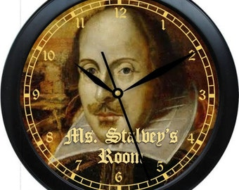 "English Teacher Clock 10"" Personalized Wall Clock Classroom Gift William Shakespeare"