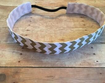 Gold and white chevron non slip headband