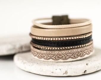 Boho Leather Cuff, Leather Women's Bracelet, Cuff Bracelet, Womens Cuff, Womens' Bracelet, Women's Leather Handmade Bracelet.