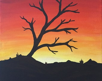 Tree in Sunset acrylic painting