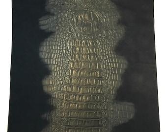 "Crocodile Print Leather / Black Alligator Leather / Alligator Embossed Leather / Genuine Leather / Suede / 12.5"" x 12.5"""
