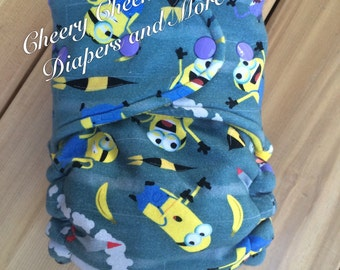 Cloth Diaper, Hybrid Fitted Diaper, One Size Fitted Diaper, minion inspired diaper,baby boy, baby girl, baby gift, baby shower gift