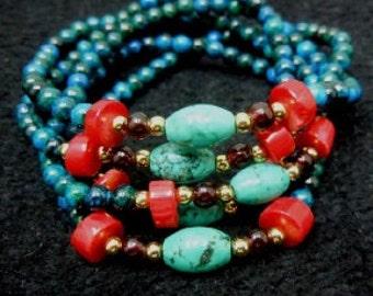 Beaded 5 loop bracelet with semi precious gem stones