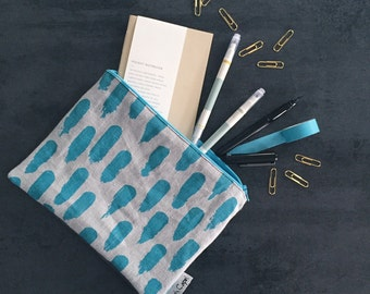 Blue pouch, makeup bag with waterproof lining // zipper pouch, cosmetics bag, pencil case