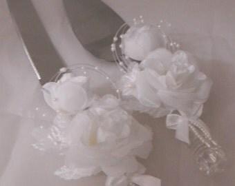 Wedding Reception Ceremony Party Roses and Pearls Elegant Cake Knife & Server 2 Psc Set
