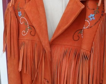 1950s Chris Line Originals Hand Beaded Native American suede leather Fringe Jacket