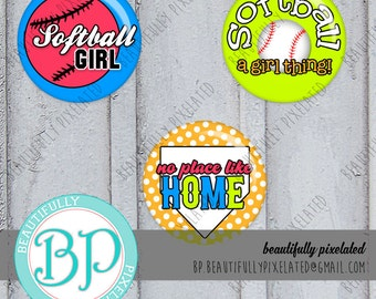 Softball Gal - Bottle Cap Images - Digital Collage Sheet - 1 Inch Circles for Bottlecaps, Hair Bows, Pendants - Instant Download
