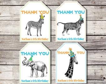 Zoo Favor Tags, Favor Tags, Party Animal, Animal Tags, Zoo Birthday Thank You Tag, Safari Favor Tags, Boy, Jungle Favor Tag, Giraffe Tiger