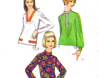 McCalls 9044   1960s Vintage Sewing Pattern   Blouse   Size 16, Bust 36