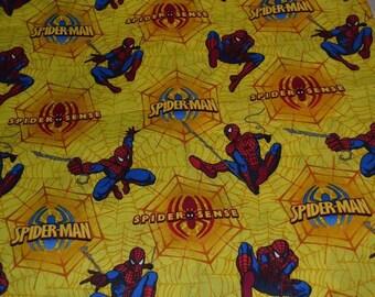 Yellow SPIDER MAN Fabric Fat Quarter 100% Cotton marvel