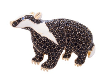Gifts for her Badger Brooch Gold Plated Valentine's Gift