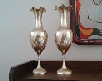 Pair 11 1/2 Inch Brass Vases. Made in India, Solid Brass